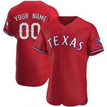 Men's Texas Rangers Custom Red Alternate Jersey - Authentic